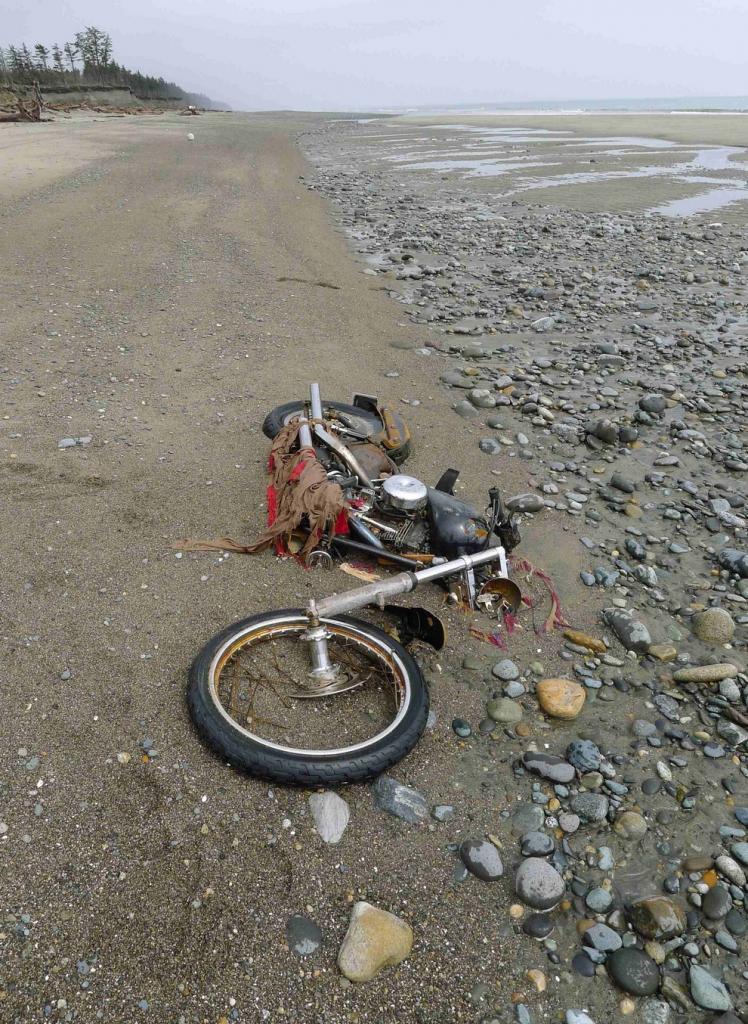 Японский Harley-Davidson уединился на пляже острова Грэм, Канада. Владелец мотоцикла, Икуо Йокояма (Ikuo Yokoyama), нашелся по номерному знаку. Икуо потерял трех членов семьи во время стиийного бедствия в прошлом году. (REUTERS/Kyodo)