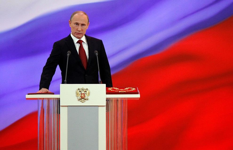 Владимир Путин во время церемонии инаугурации в Андреевском зале Большого Кремлевского дворца. (Дмитрий Астахов/РИА Новости)