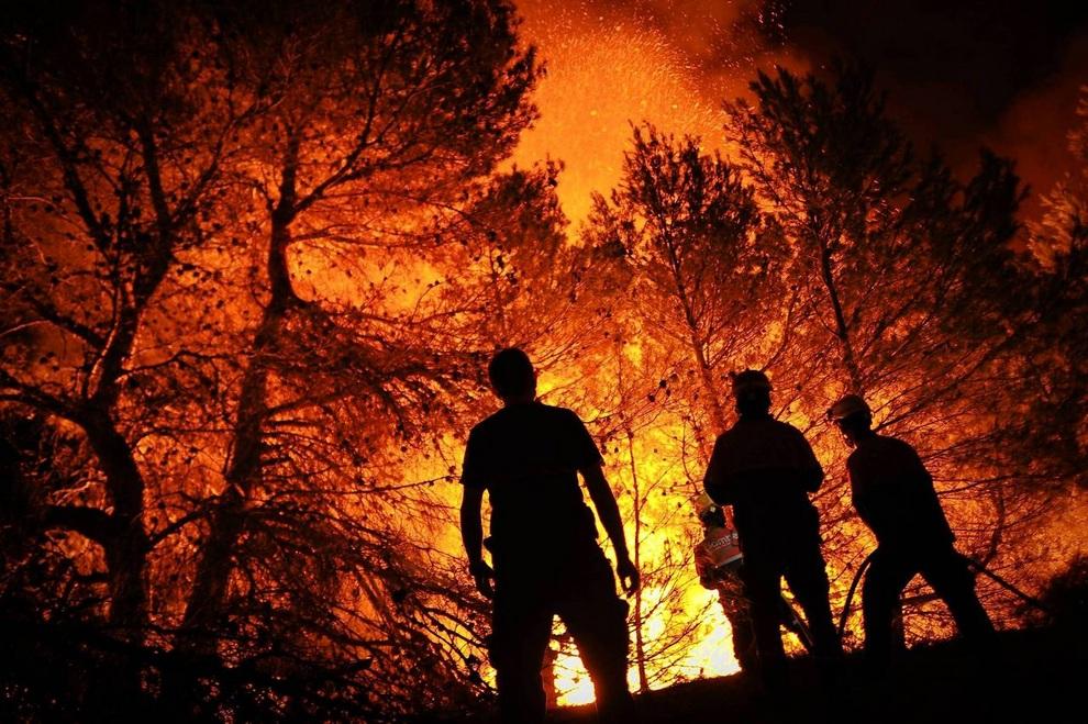 Пожарные Алькоя и Эльды пытаются потушить пожар в малонаселенном регионе Торремансанас близ Аликанте, Испания. Один человек погиб, несколько получили сильные ожоги. Лесные пожары терроризируют Пиренейский полуостров все лето. (PEDRO ARMESTRE/AFP/Getty Images)