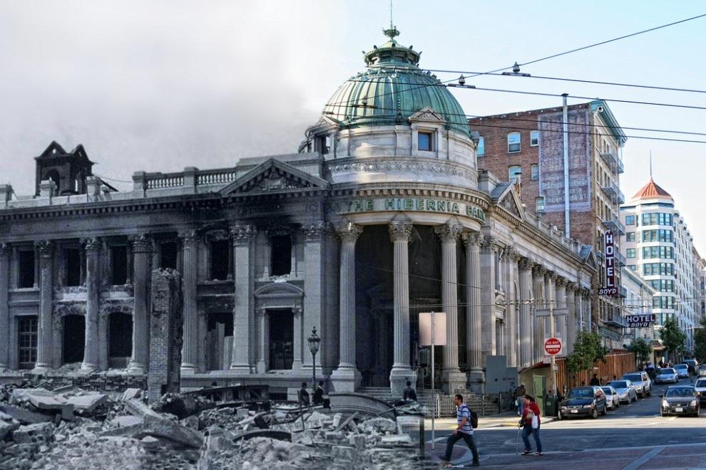 Коллаж землетрясения 1906 года и современного Сан-Франциско. (Shawn Clover)