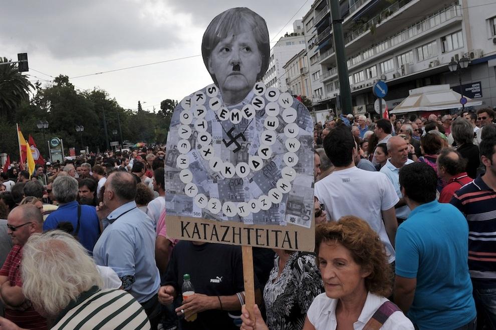 Греки агрессивно бойкотировали визит Ангелы Меркель (15 фото)