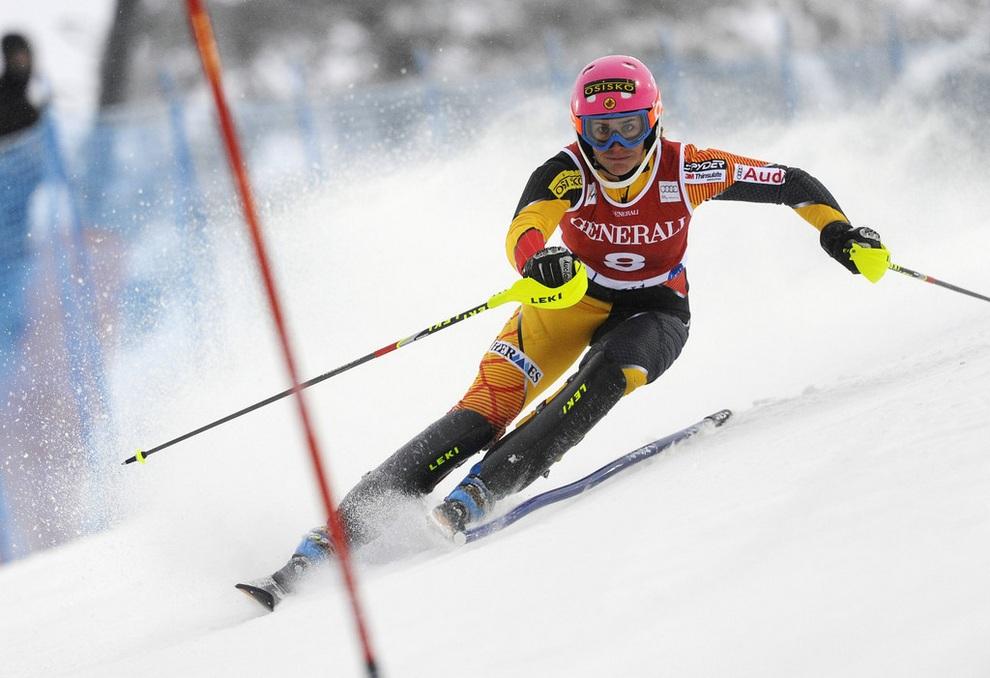 Мари-Мишель Ганьон (Marie-Michèle Gagnon) из Канады на втором этапе Кубка мира по горнолыжному спорту в Леви, Финляндия. (Alain Grosclaude/Agence Zoom/Getty Images)