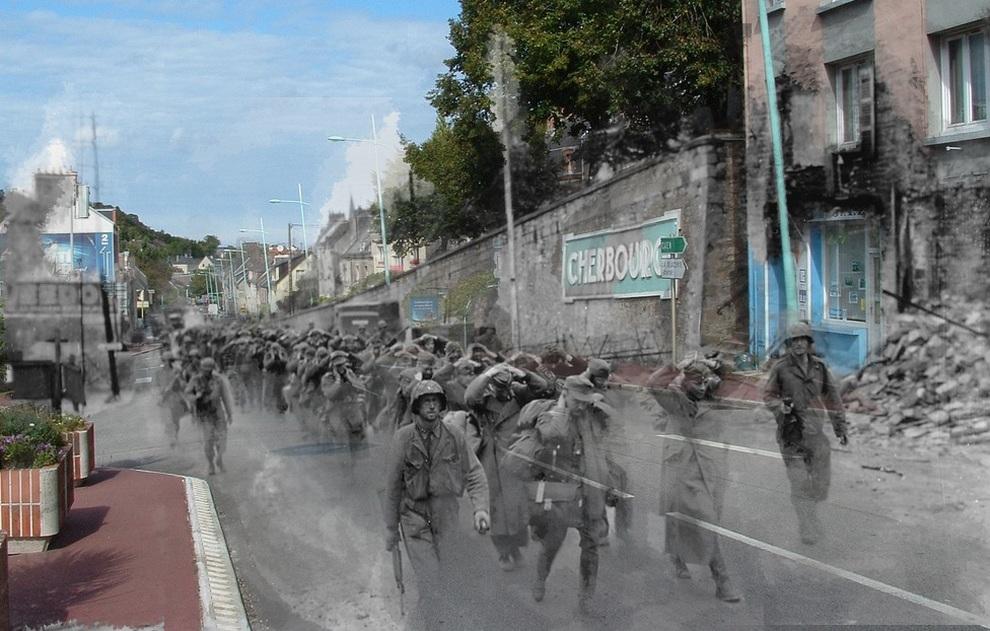 Американские солдаты ведут колонну немецких военнопленных в Шербур-Октевиле, департамент Манш, Нижняя Нормандия, Франция. (Jo Hedwig Teeuwisse)