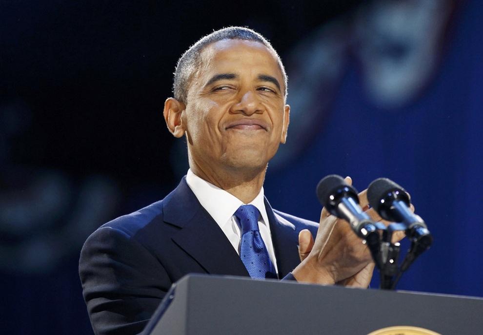 Барак Обама и его сторонники празднуют победу (18 фото)