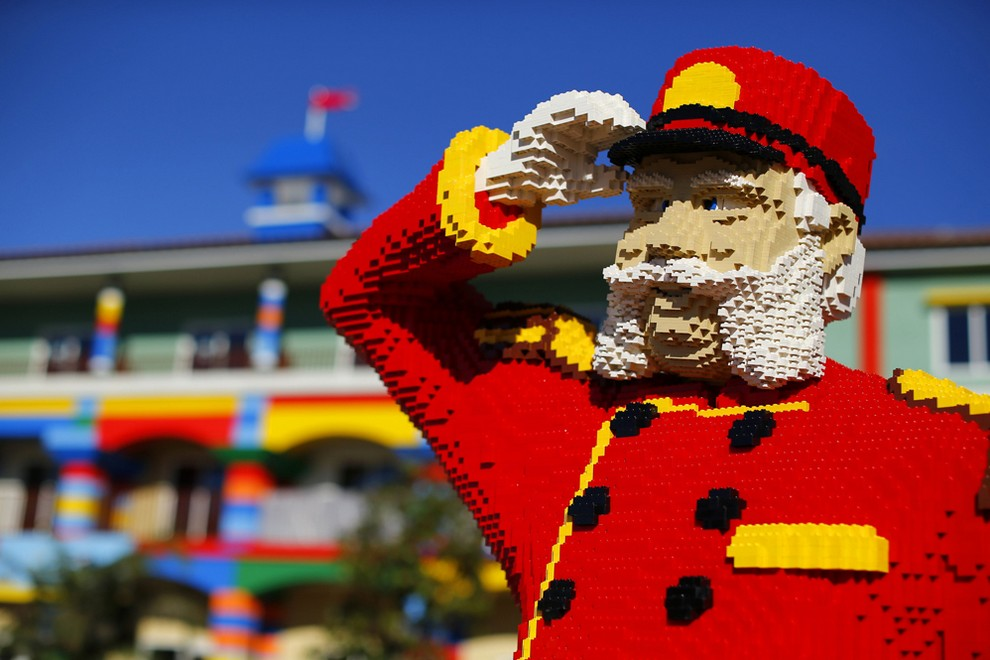 Lego figure is seen as construction continues in North America's first ever Lego Hotel currently being built at Legoland in Carlsbad