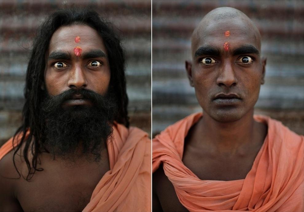 Портреты нага садху до и после ритуала инициации (10 фото)