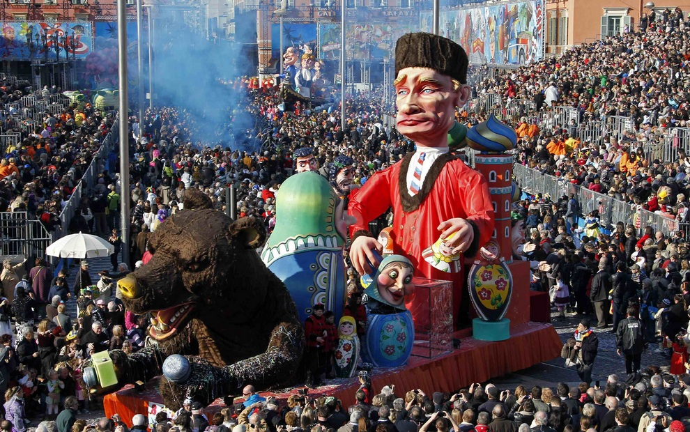 The float with a giant figure of Russian President Vladimir Putin is paraded through the crowd during the Carnival parade in Nice