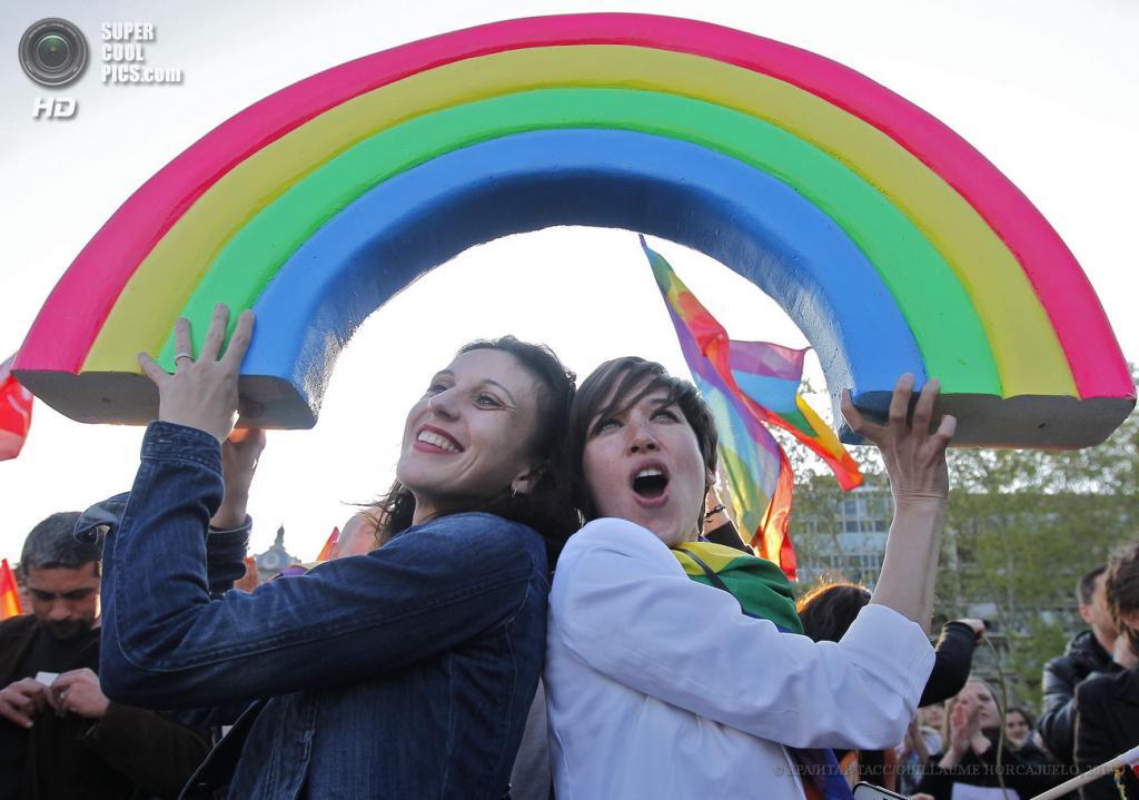 Франция. Монпелье. 23 апреля. Во время массовой акции в поддержку законопроекта о легализации однополых браков и разрешении этим парам усыновлять детей. (EPA/ИТАР-ТАСС/GUILLAUME HORCAJUELO)