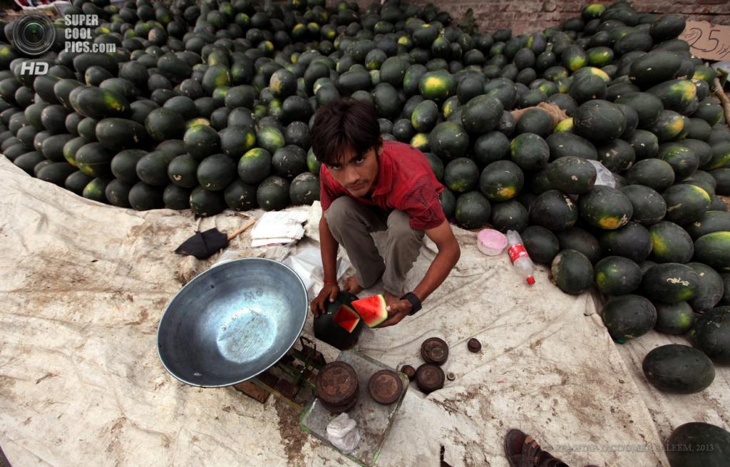 Пакистан. Лахор, Пенджаб. 25 апреля. Торговец фруктами демонстрирует свежие арбузы. (EPA/ИТАР-ТАСС/OMER SALEEM)