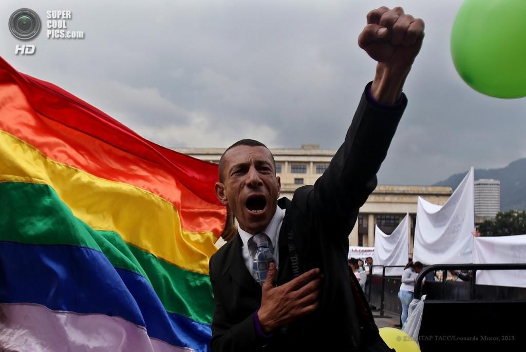 Колумбия. Богота. 24 апреля. Акция в поддержку законопроекта о легализации однополых браков. (EPA/ИТАР-ТАСС/Leonardo Muсoz)