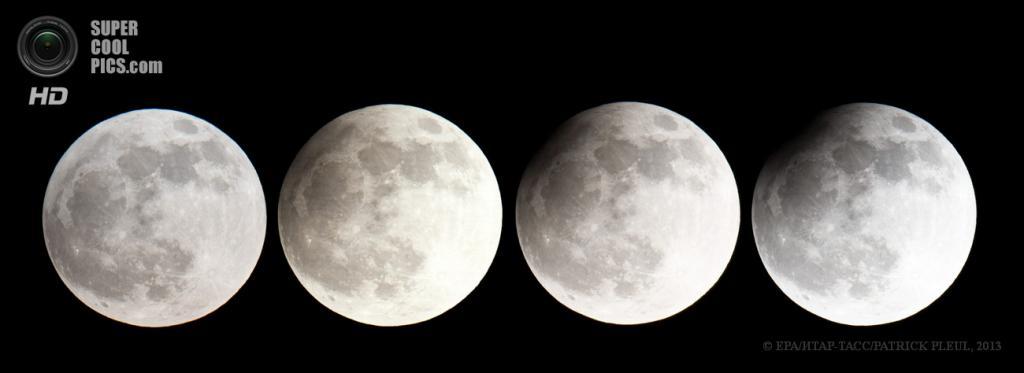 Германия. Франкфурт-на-Одере, Бранденбург. 25 апреля. Составное изображение фаз частичного лунного затмения. (EPA/ИТАР-ТАСС/PATRICK PLEUL)