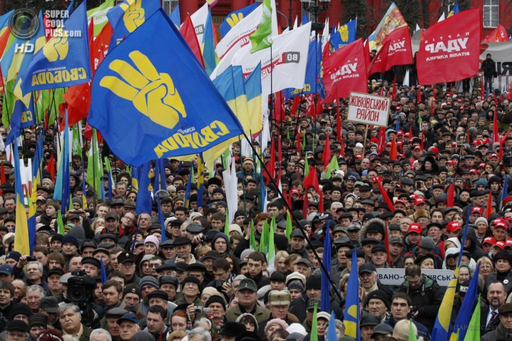 Украина. Киев. 7 апреля. Участники митинга оппозиции «Вставай, Украина!», организованного активистами партий «Батькивщина», «УДАР» и «Свобода». (ИТАР-ТАСС)