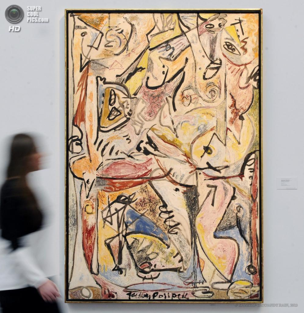 Англия. Лондон. 12 апреля. Картина «Синее бессознательное» американского художника Джексона Поллока, 1946 год. Оценочная стоимость — $20—30 млн. (EPA/ИТАР-ТАСС/ANDY RAIN)