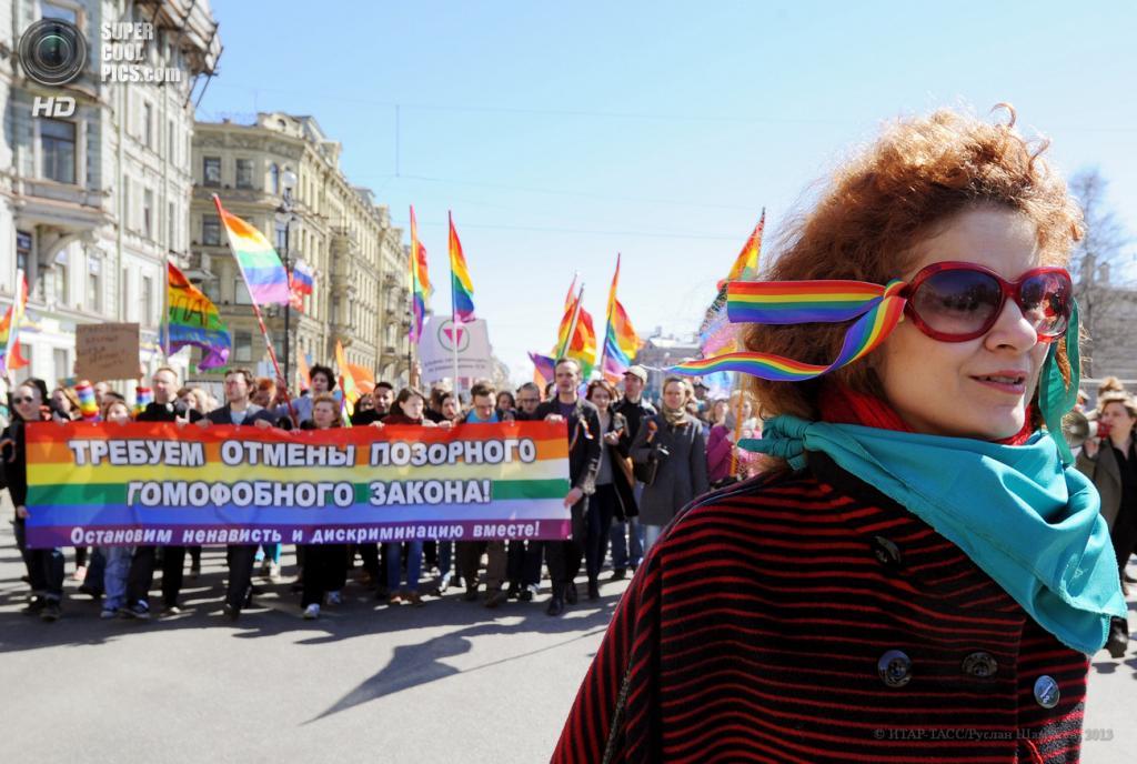 Россия. Санкт-Петербург. 1 мая. Представители ЛГБТ-сообщества во время первомайского шествия. (ИТАР-ТАСС/Руслан Шамуков)