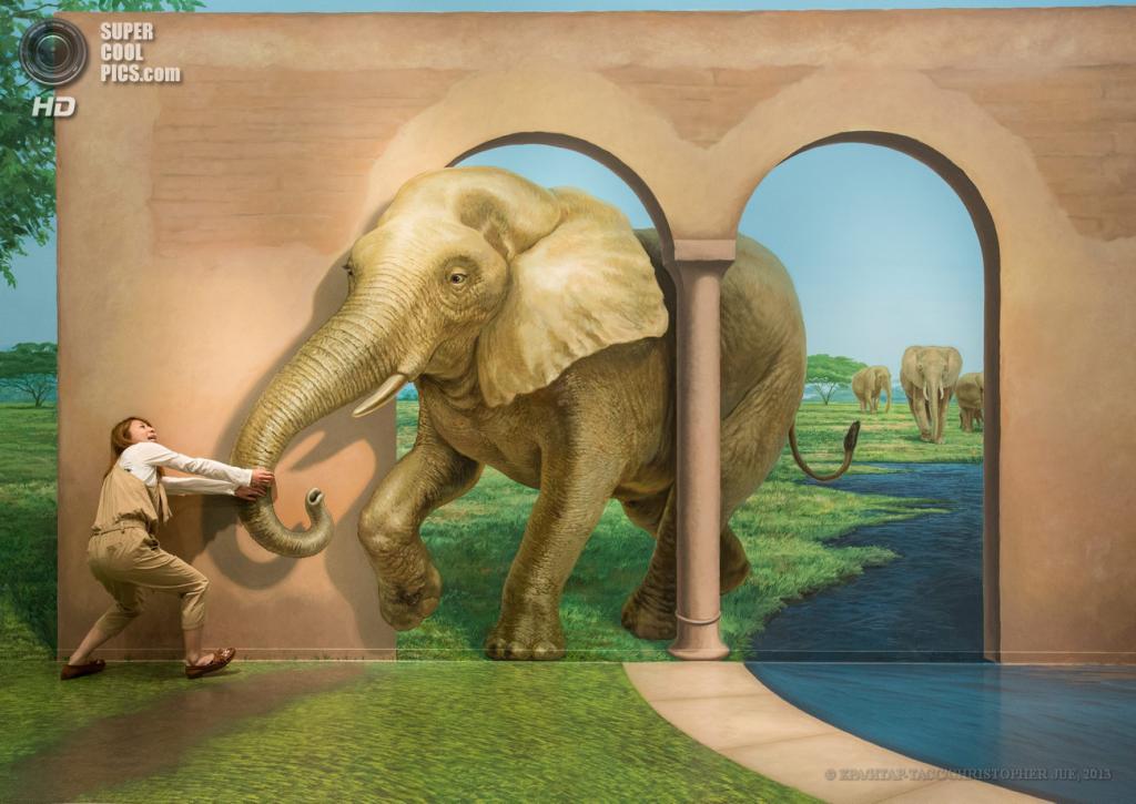 Япония. Хатиодзи, Токио. 17 мая. «Природный парк фараона» в музее оптических иллюзий Takao Trick Art Museum. (EPA/ИТАР-ТАСС/CHRISTOPHER JUE)