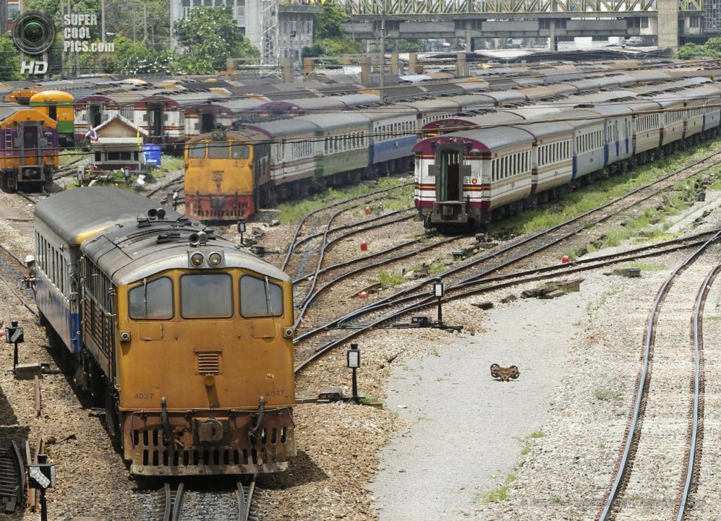 Таиланд. Бангкок. 28 мая. Тепловоз на железнодорожных путях. (EPA/ИТАР-ТАСС/NARONG SANGNAK)