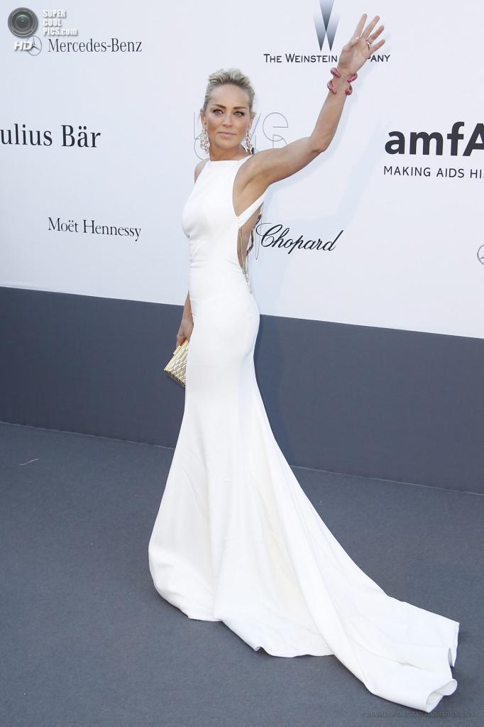 Франция. Кап д'Антиб. 23 мая. Актриса Шэрон Стоун в платье Roberto Cavalli на благотворительном вечере amfAR в рамках Каннского кинофестиваля. (EPA/ИТАР-ТАСС/IAN LANGSDON)