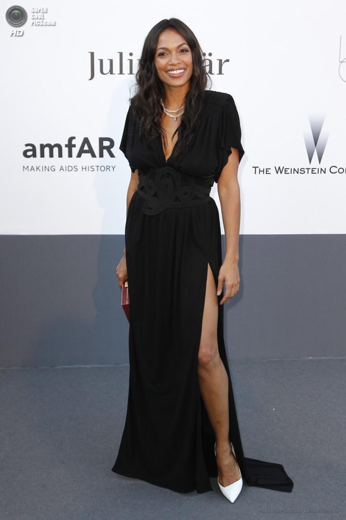 Франция. Кап д'Антиб. 23 мая. Актриса Розарио Доусон в платье от Vionnet на благотворительном вечере amfAR в рамках Каннского кинофестиваля. (EPA/ИТАР-ТАСС/IAN LANGSDON)