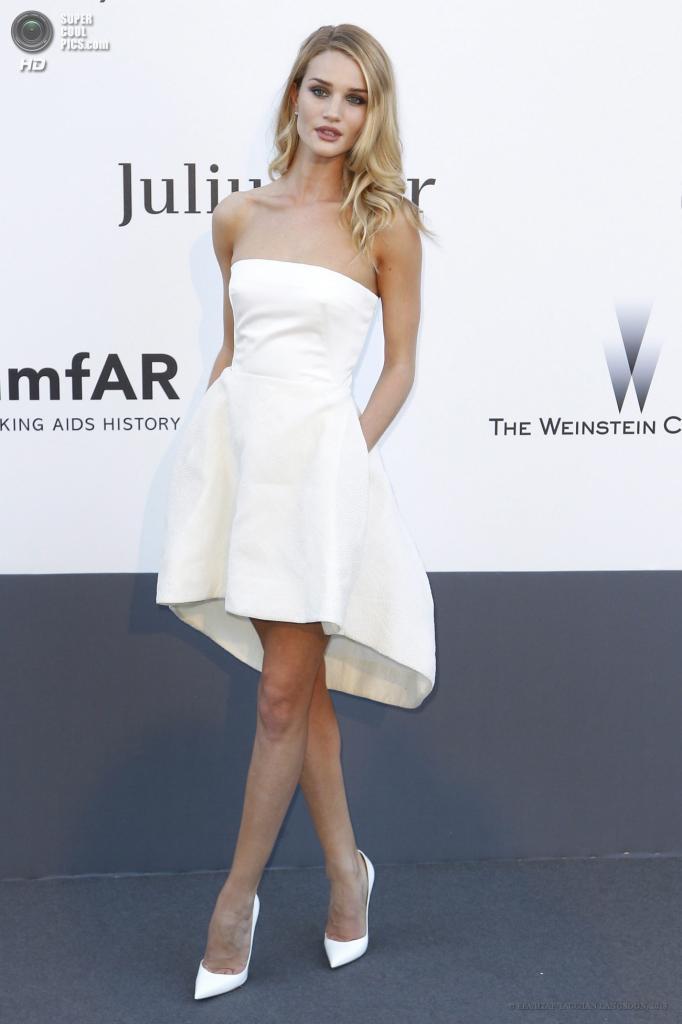 Франция. Кап д'Антиб. 23 мая. Модель Роузи Хантингтон-Уайтли в платье от Dior на благотворительном вечере amfAR в рамках Каннского кинофестиваля. (EPA/ИТАР-ТАСС/IAN LANGSDON)