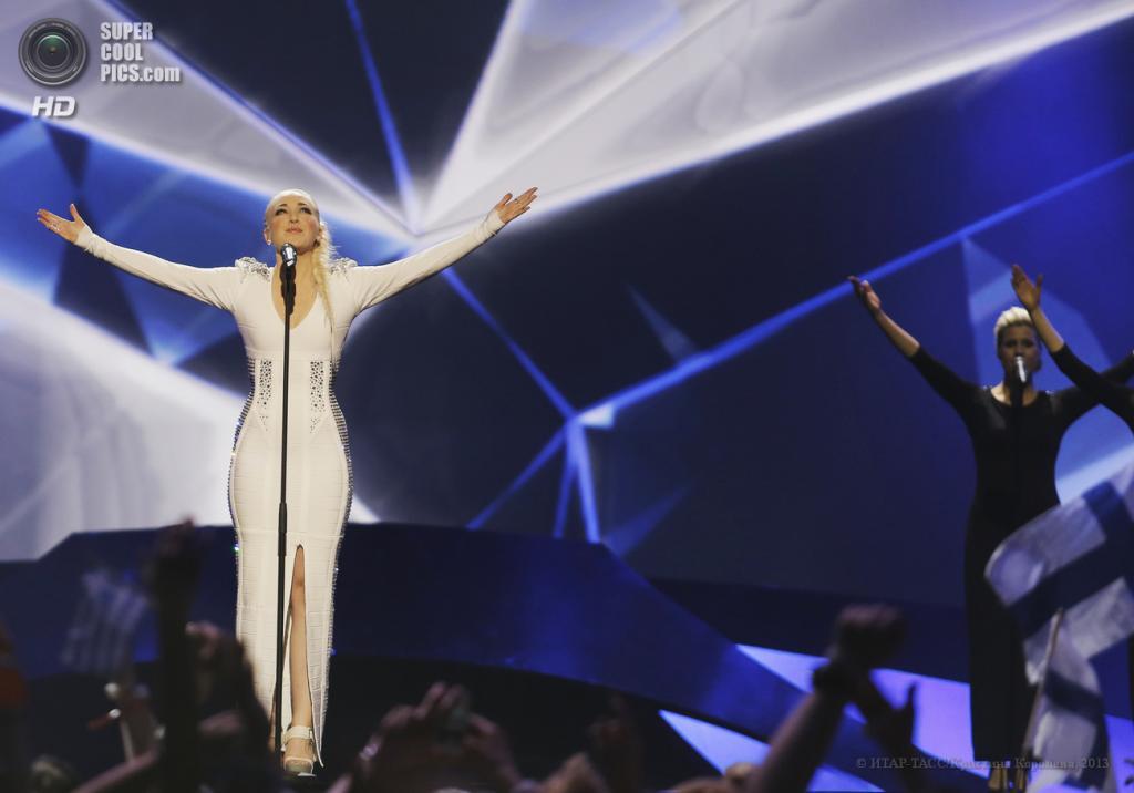 Швеция. Мальме. 16 мая. Представительница Норвегии Маргарет Бергер во время выступления на втором полуфинале музыкального конкурса «Евровидение-2013». (ИТАР-ТАСС/Кристина Королева)