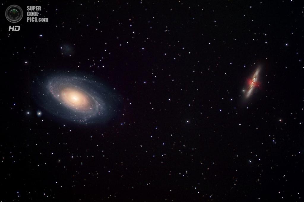 Галактика Боде и Галактика Сигара — одна из двух галактик, которые испытывают сильное гравитационное взаимодействие с первой. Еще одна — NGC 3077 — расположена выше за пределами изображения. (NASA/ESA/Robert Gendler)
