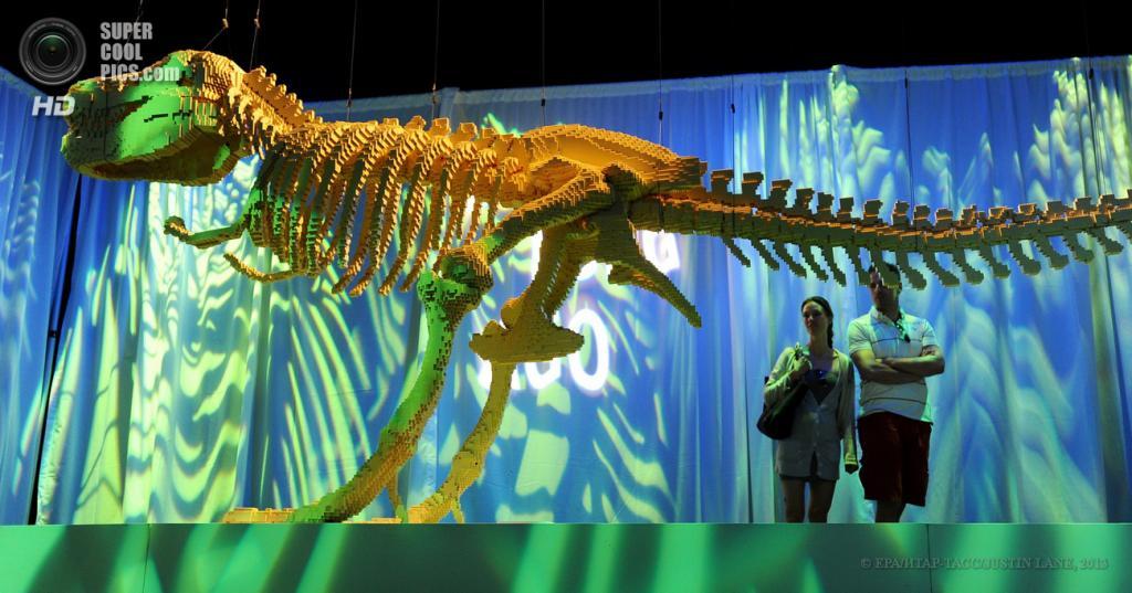США. Нью-Йорк. Выставка скульптур Натана Савайа из деталей Lego в музее Discovery Times Square. (EPA/ИТАР-ТАСС/JUSTIN LANE)