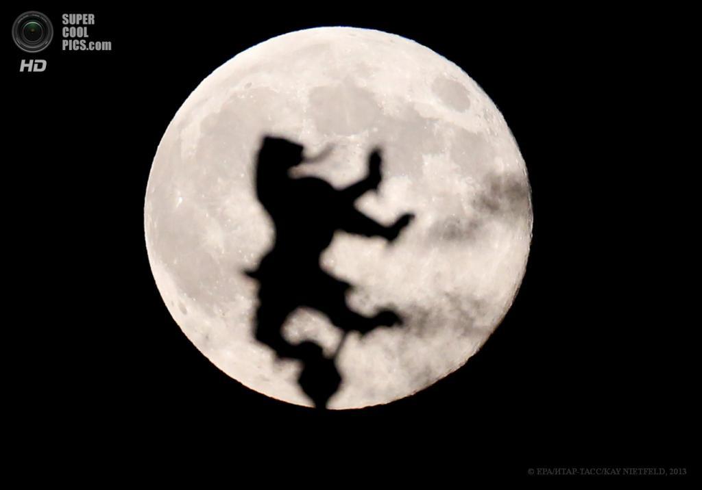 Германия. Берлин. 23 июня. Геральдический символ немецкой столицы — чёрный медведь — на фоне суперлуния. (EPA/ИТАР-ТАСС/KAY NIETFELD)