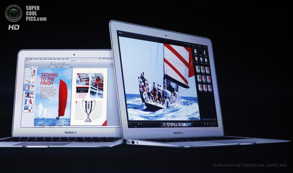 США. Сан-Франциско, Калифорния. 10 июня. Слайд с обновленными Macbook Air. (EPA/ИТАР-ТАСС/MONICA M. DAVEY)