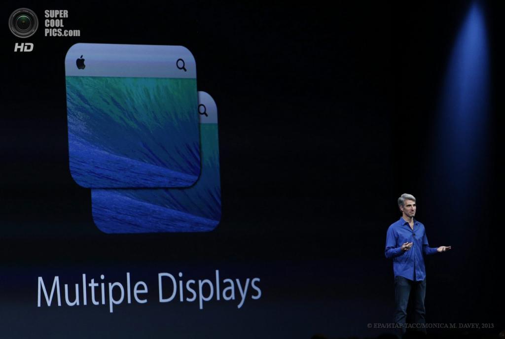 США. Сан-Франциско, Калифорния. 10 июня. Старший вице-президент Apple по программному обеспечению Mac Крейг Федериги рассказывает о возможностях OS X Mavericks. (EPA/ИТАР-ТАСС/MONICA M. DAVEY)