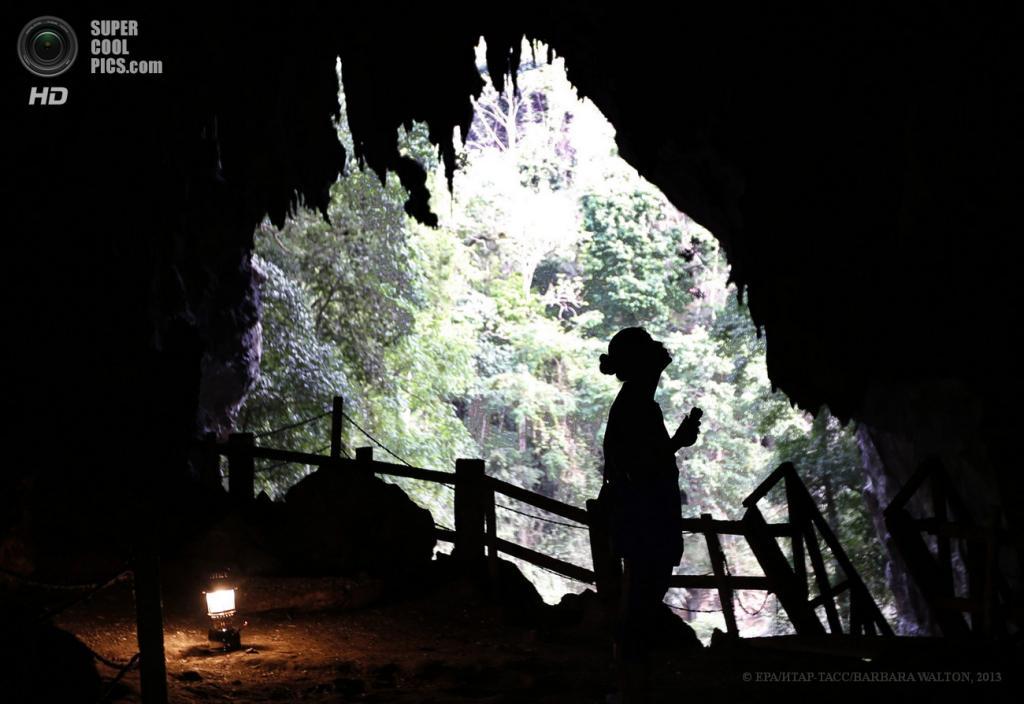 Таиланд. Мэхонгсон. 15 мая. Девушка обратила внимание на темный щебечущий потолок пещеры Tham Lod, где гнездятся сотни стрижей. (EPA/ИТАР-ТАСС/BARBARA WALTON)