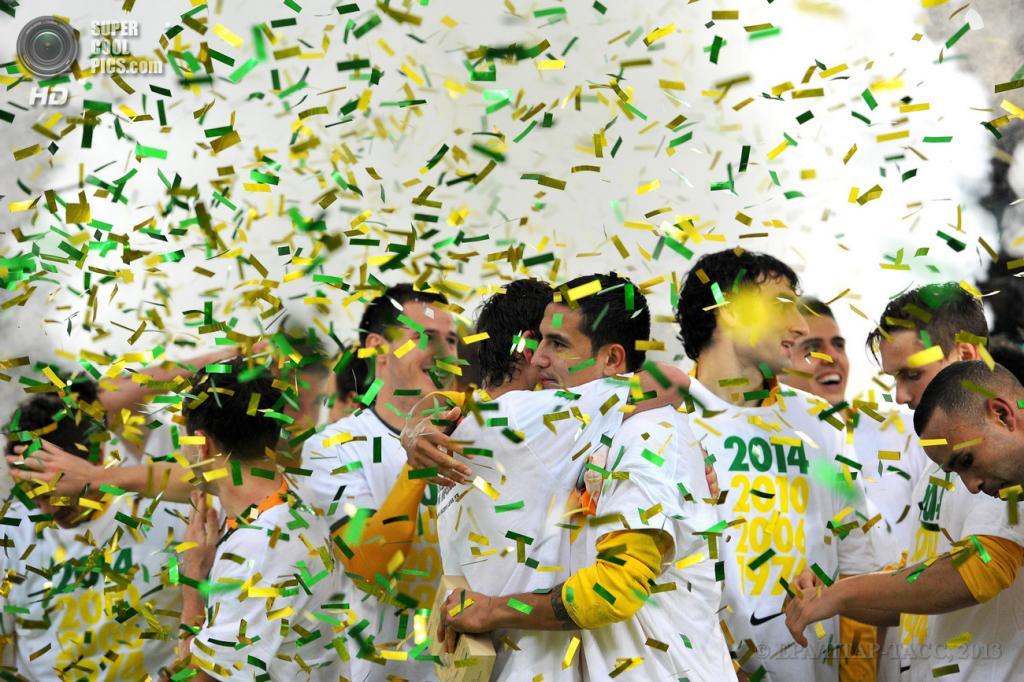 Австралия. Сидней, Новый Южный Уэльс. 18 июня. Футболисты сборной Австралии празднуют выход на чемпионат мира. (EPA/ИТАР-ТАСС/PAUL MILLER)