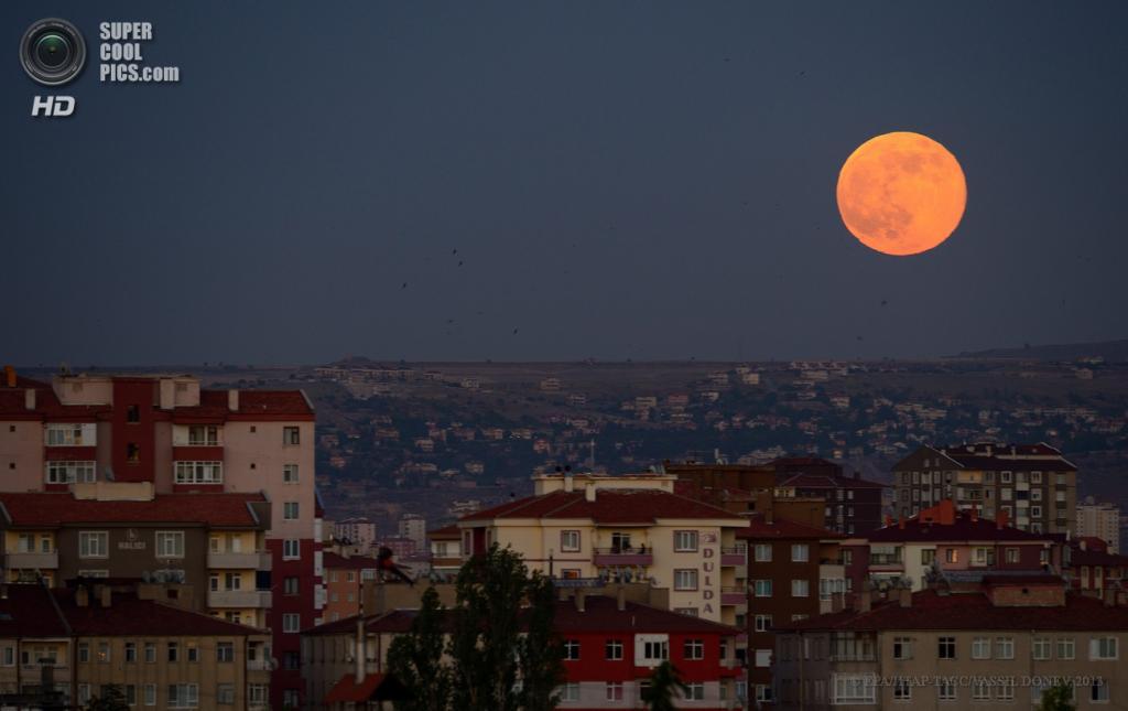 Турция. Кайсери. 23 июня. Суперлуние над городом. (EPA/ИТАР-ТАСС/VASSIL DONEV)