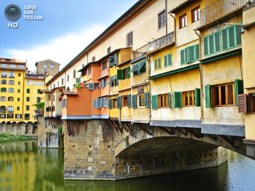 Италия. Флоренция, Тоскана. Мост Понте-Веккьо. (Piero Fissore)