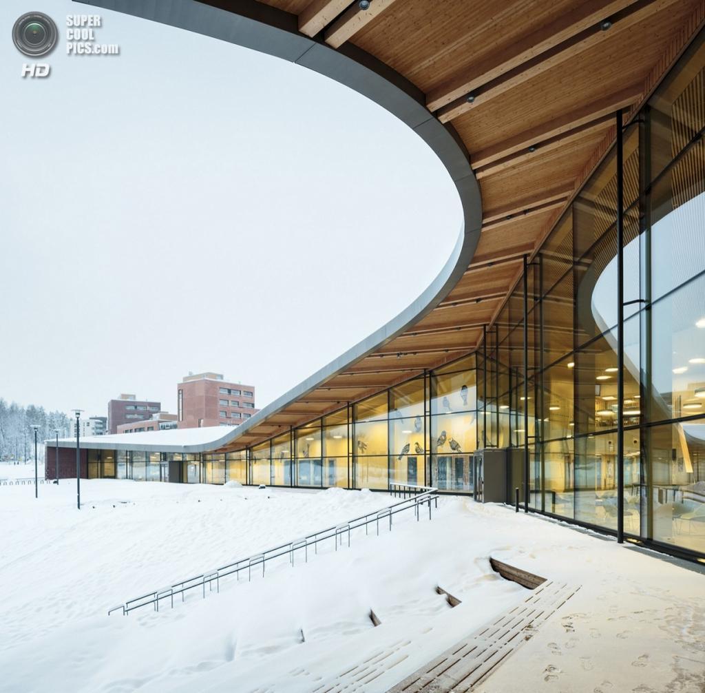 Финляндия. Эспоо, Уусимаа. Школа Saunalahti, спроектированная VERSTAS Architects. (Tuomas Uusheimo)