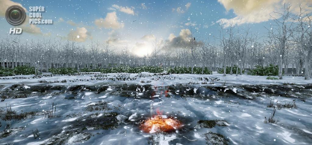 Иллюстрация ко дню зимнего солнцестояния в Уоррен-Филде. (University of Birmingham/Eugene Ch'ng/Eleanor Ramsey/Vincent Gaffney)