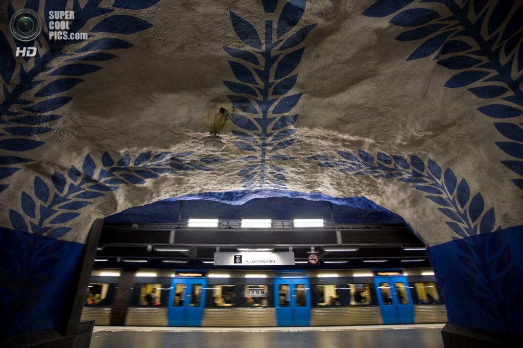 Швеция. Стокгольм. Станция «Т-Сентрален», расположенная на Синей линии. (Milton Correa)