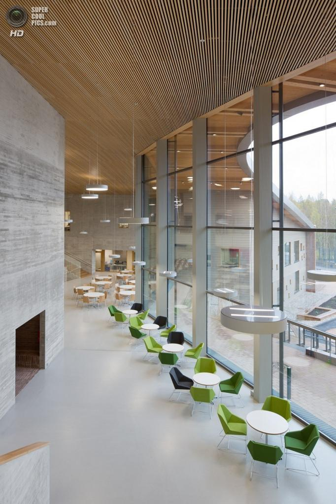 Финляндия. Эспоо, Уусимаа. Школа Saunalahti, спроектированная VERSTAS Architects. (Andreas Meichsner)