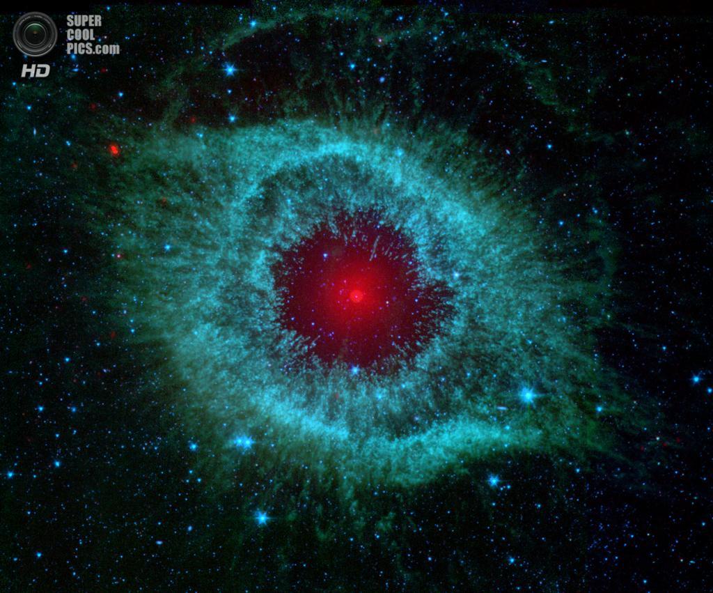 Туманность Улитка. (NASA/JPL-Caltech/Univ.of Ariz.)