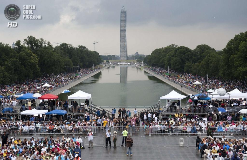 США. Вашингтон. 28 августа. Во время 50-й годовщины «Марша на Вашингтон за труд и свободу». (Saul Loeb/Getty Images)