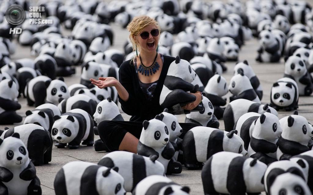 Германия. Берлин. 1600 фигурок панд у Берлинского железнодорожного вокзала в рамках акции WWF. (Reuters/Thomas Peter)