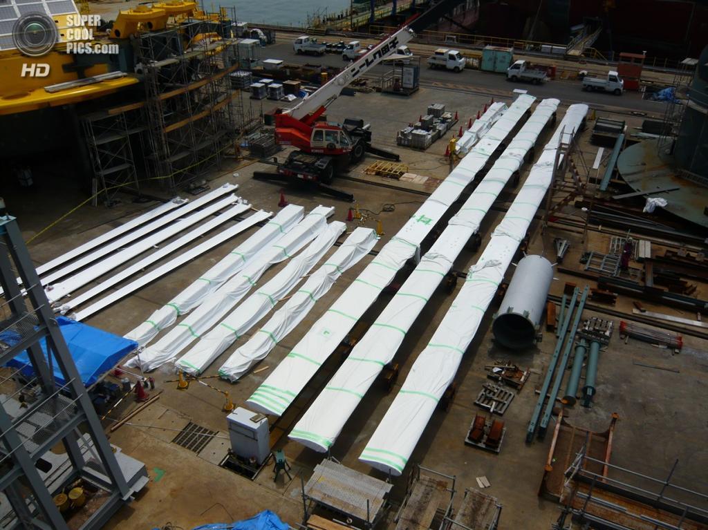 Лопасти ветрогенератора Дарье для надводной части гибридной ветроприливной турбины SKWID. (MODEC)