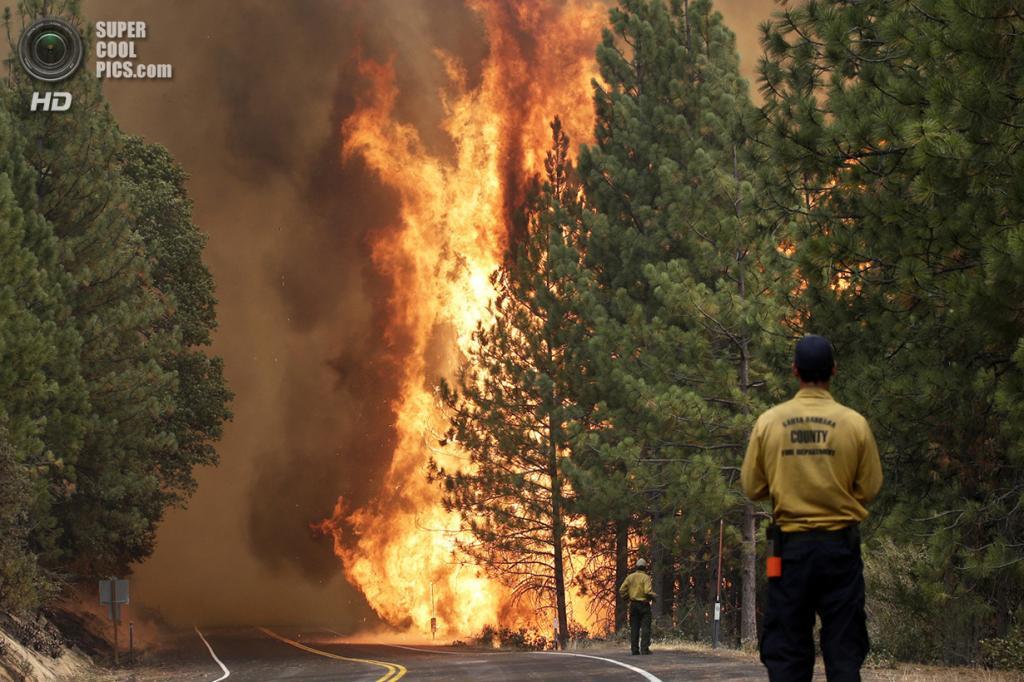 США. Гровленд, Калифорния. 25 августа. Лесной пожар «Rim Fire» движется вдоль шоссе 120. (AP Photo/Jae C. Hong)