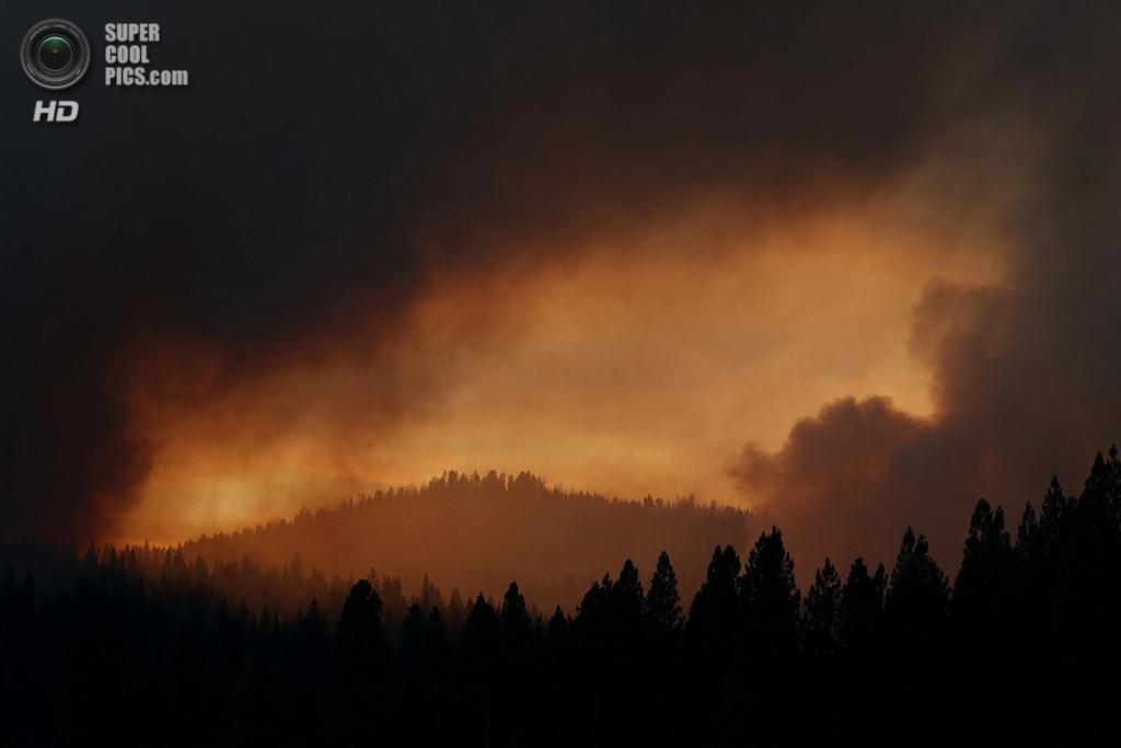 США. Гровленд, Калифорния. 24 августа. Зарево, вызванное лесным пожаром «Rim Fire». (Justin Sullivan/Getty Images)