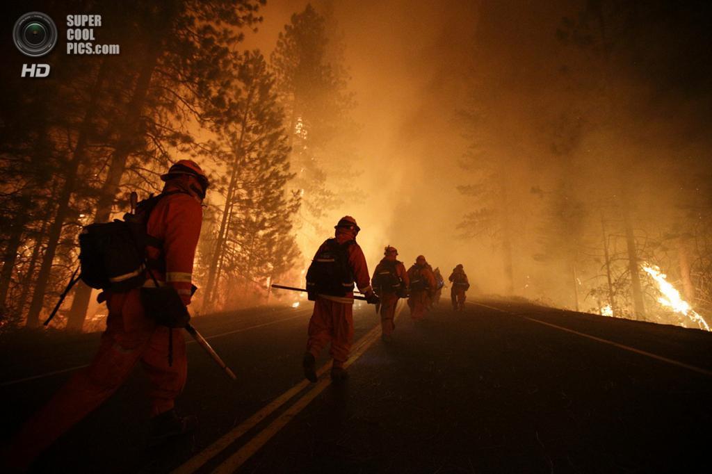 США. Гровленд, Калифорния. 25 августа. Пожарные идут на защиту одной из рощ, где произрастают гигантские секвойи. (AP Photo/Jae C. Hong)