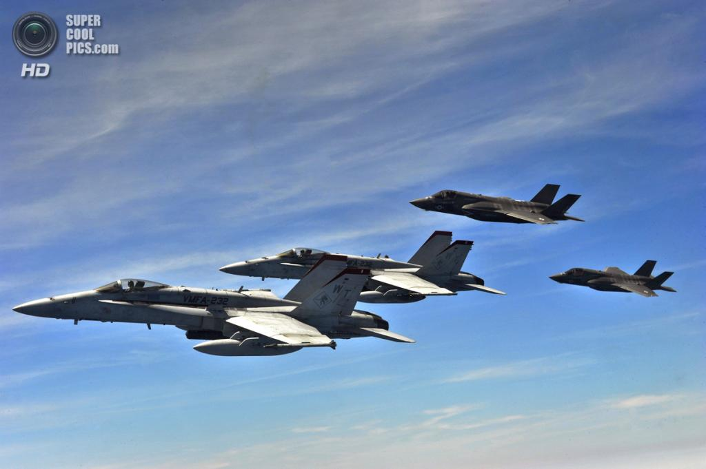 Lockheed Martin F-35A Lightning II и McDonnell Douglas F/A-18 Hornet. (U.S. Air Force/Master Sgt. Donald R. Allen)