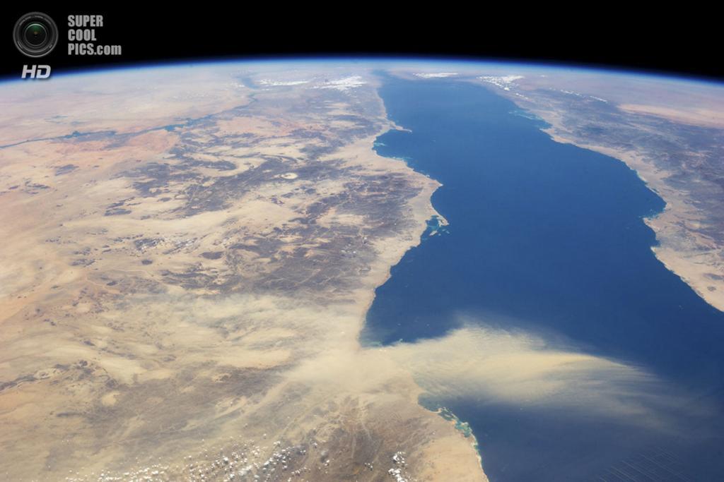 Пыльная буря, летящая от Египта к Саудовской Аравии через Красное море. (REUTERS/NASA)