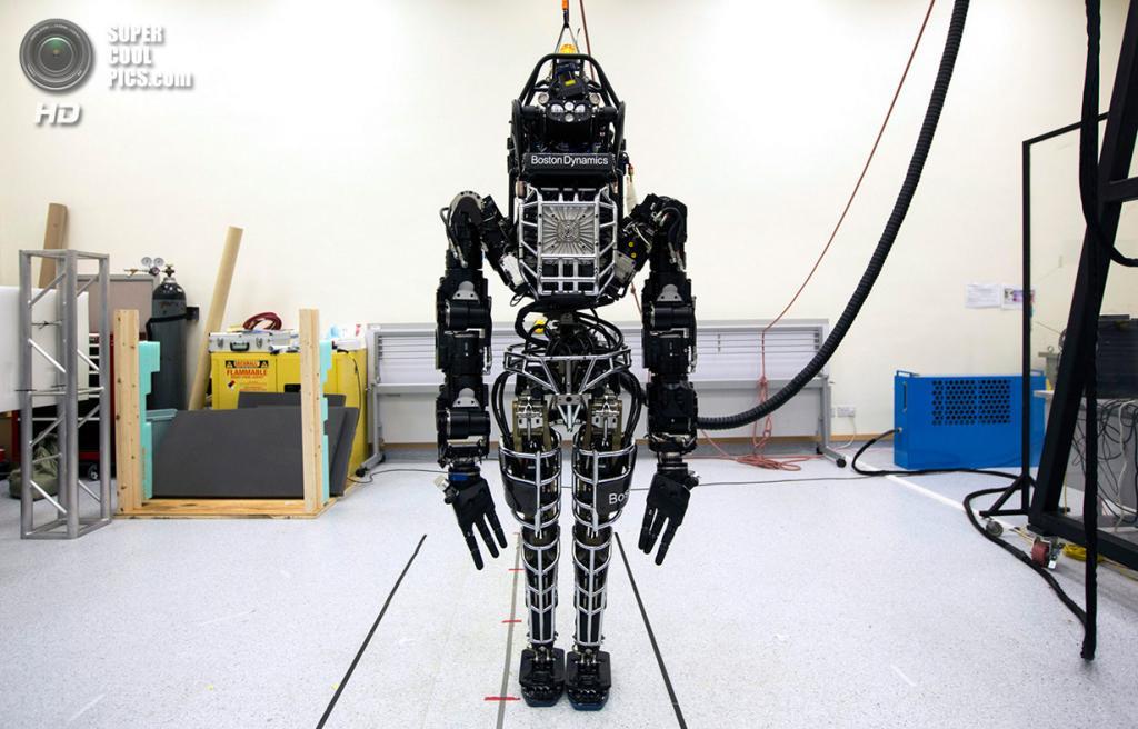 Китай. Гонконг. 17 октября. Двуногий человекоподобный робот «Атлас», разработанный американской компанией Boston Dynamics, на конференции в Гонконгском университете. Робот ростом 1,83 м и весом 149,7 кг, сделанный из градуированного алюминия и титана, способен делать естественные человеческие движения конечностями. Его цена — $1,93 млн. (REUTERS/Tyrone Siu)