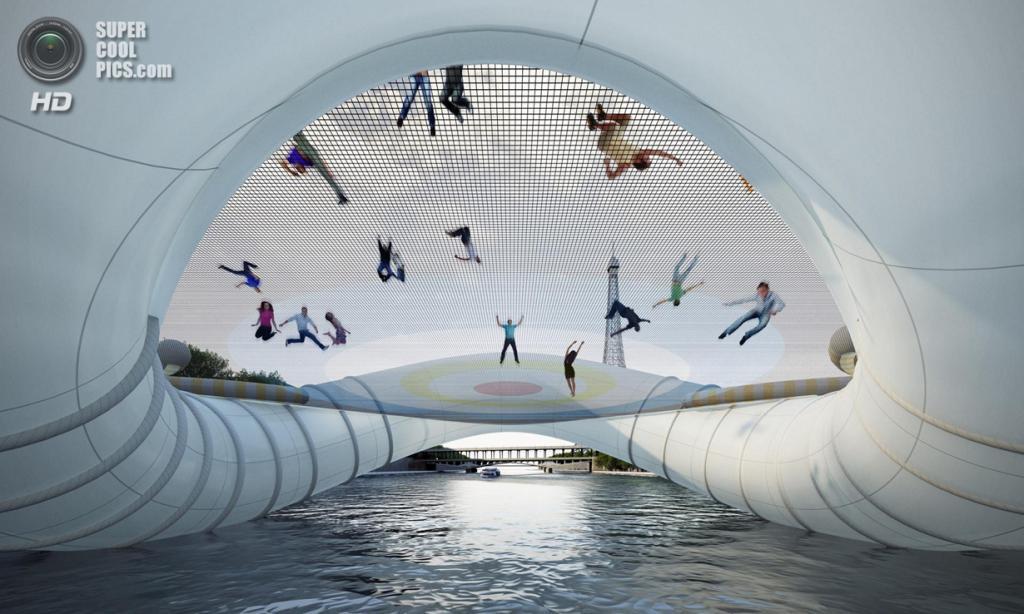 Франция. Париж. Мост-батут, спроектированный Atelier Zündel Cristea. (Atelier Zündel Cristea)