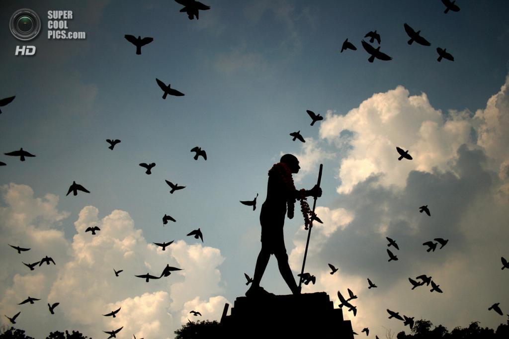 Индия. Амритсар, Пенджаб. 2 октября. Увешанный гирляндами памятник Махатмы Ганди на фоне летящих голубей. (AP Photo/Sanjeev Syal)
