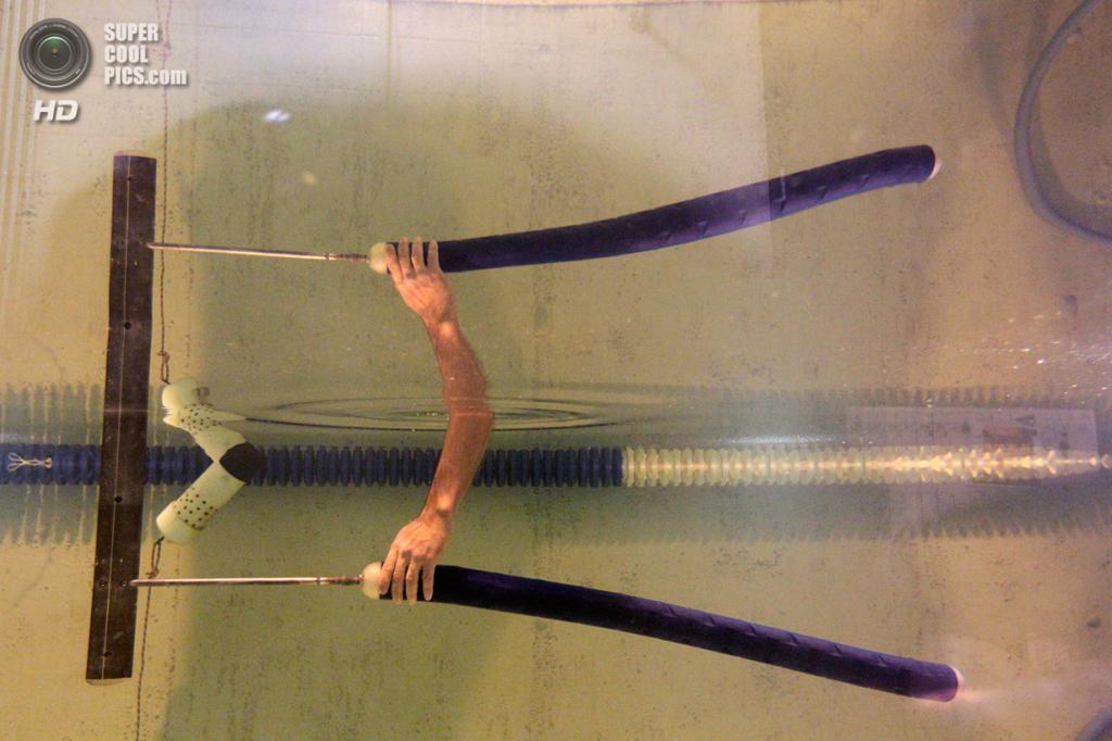 США. Новый Орлеан, Луизиана. 2 октября. Студент Бейкер Поттс управляет прототипом робота-угря в бассейне Новоорлеанского университета. (AP Photo/Gerald Herbert)